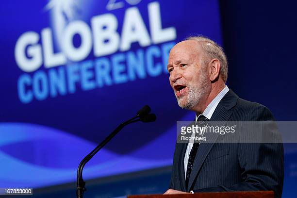 Michael Klowden president and chief executive officer of the Milken Institute speaks at the annual Milken Institute Global Conference in Beverly...