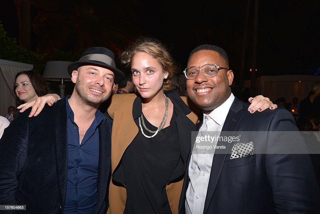 Michael Klug, Cece Stucker and Amani Olu attend the Whitewall Magazine Party At Delano Beach Club at Delano Beach Club on December 4, 2012 in Miami Beach, Florida.