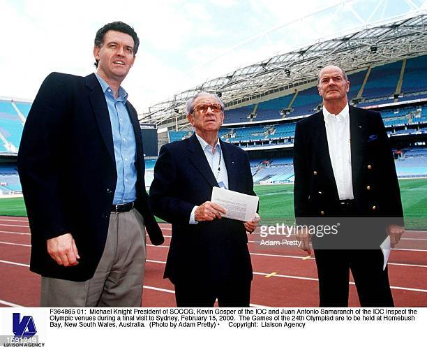 Michael Knight President of SOCOG Kevin Gosper of the IOC and Juan Antonio Samaranch of the IOC inspect the Olympic venues during a final visit to...