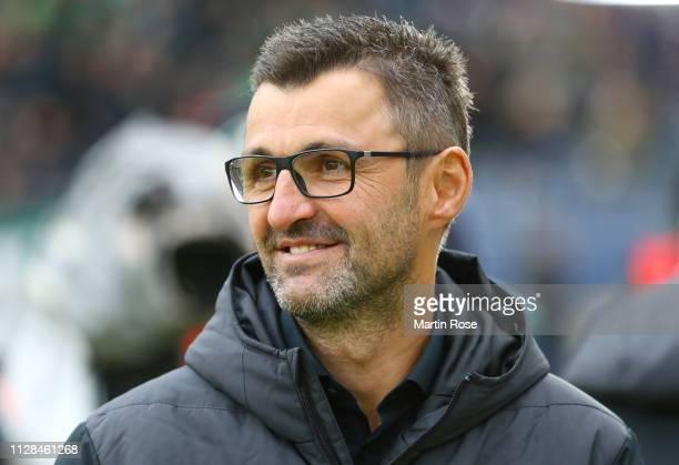 Michael Koellner, Manager of Nuernberg looks on prior to the Bundesliga match between Hannover 96 and 1. FC Nuernberg at HDI-Arena on February 09,...