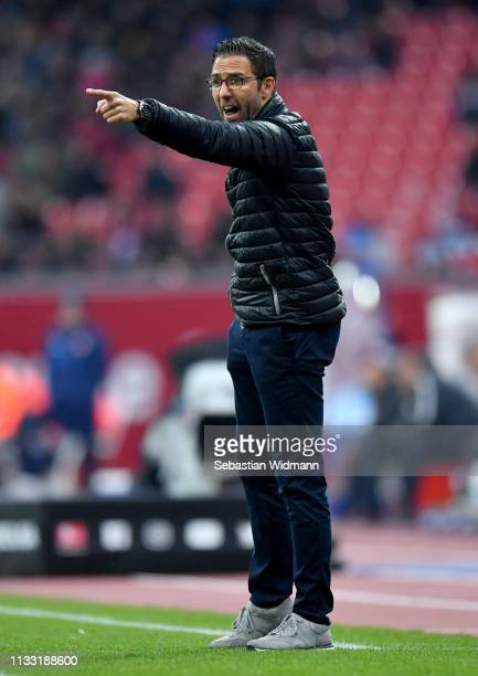 Michael Koellner, Manager of Nuernberg reacts during the Bundesliga match between 1. FC Nuernberg and RB Leipzig at Max-Morlock-Stadion on March 02,...