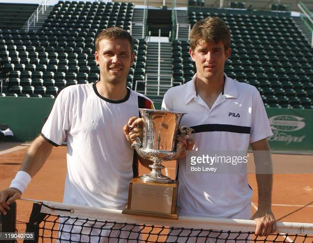 Michael Kohlman/Alexander Waske pose with the trophy after defeating Jurgen Melzer/Julian Knowle 5764105 to win the doubles division of the US Mens...