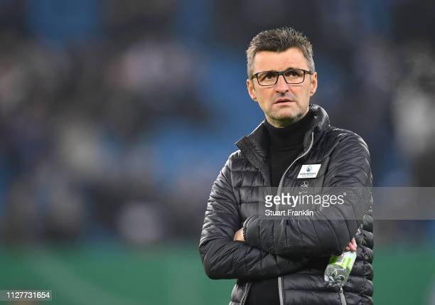 Michael Kollner, head coach of Nuernberg looks on during the round of 16 match between Hamburger SV and 1.FC Nuernberg at Volksparkstadion on...