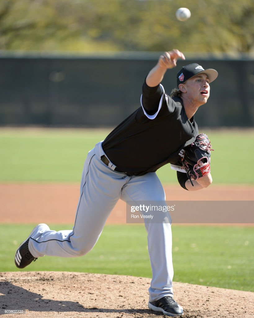 Michael Kopech #78 of the Chicago White Sox pitches during a during spring training workout February 22, 2018 at Camelback Ranch in Glendale Arizona.