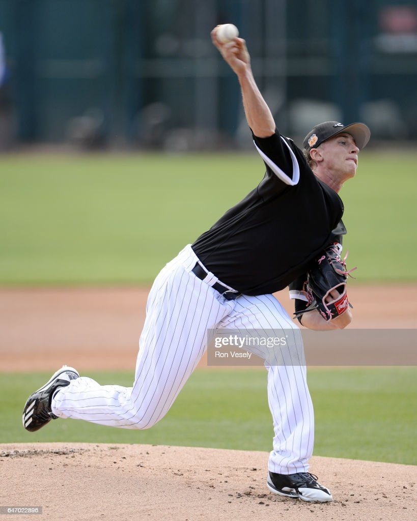 Michael Kopech #78 of the Chicago White Sox pitches during the spring training game against the Seattle Mariners on February 28, 2017 at Camelback Ranch in Glendale Arizona.