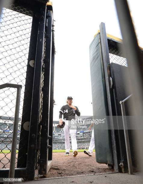 Michael Kopech of the Chicago White Sox prepares to warm up in the bullpen prior to making his Major League debut against the Minnesota Twins on...
