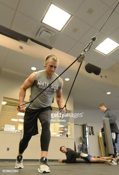 Michael Kopech of the Chicago White Sox works out in the weight room during spring training on February 20 2018 at Camelback Ranch in Glendale Arizona