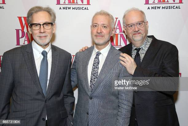 Michael Korie Scott Frankel and Doug Wright attend the Broadway opening night after party for 'War Paint' at Gotham Hall on April 6 2017 in New York...