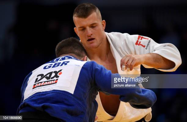 Michael Korrel and Benjamin Fletcher in action in the men's up to 100 kg body weight competition at the Judo Grand Prix in the Mitsubishi Electric...