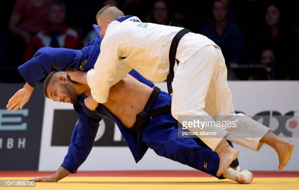 Michael Korrel and KarlRichard Frey in action during the men's up to 100 kg body weight competition at the Judo Grand Prix in the Mitsubishi Electric...