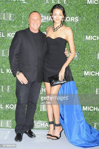Michael Kors and Ai Tominaga attend Michael Kors and Miranda Kerr Celebrate Elle Japon December Cover party at the Gallery of Horyuji Treasures of...