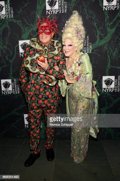 Michael Kors and Bette Midler attends Bette Midler's 2017 Hulaween event benefiting the New York Restoration Project at Cathedral of St John the...