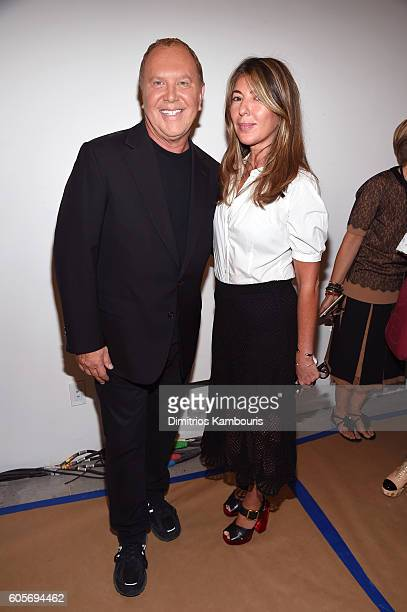 Michael Kors and Nina García backstage at the Michael Kors Spring 2017 Runway Show during New York Fashion Week at Spring Studios on September 14...