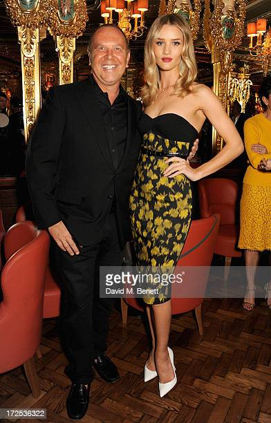 Michael Kors and Rosie Huntington Whiteley attend the Alexandra Shulman and Vogue Dinner in Honour of Michael Kors at the Cafe Royal on April 25 2013...
