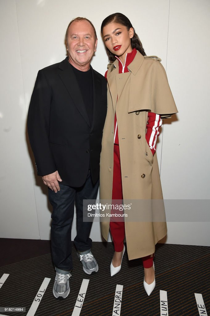 Michael Kors (L) and Zendaya attend the Michael Kors Collection Fall 2018 Runway Show at Vivian Beaumont Theatre at Lincoln Center on February 14, 2018 in New York City.