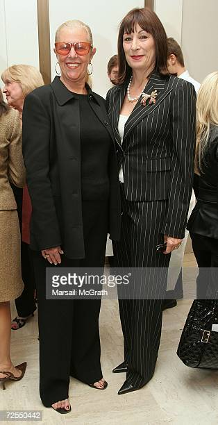 Michael Kors' mother Joan Kors and actress Anjelica Huston attend the Michael Kors instore appearance and fashion show at Nieman Marcus on November...