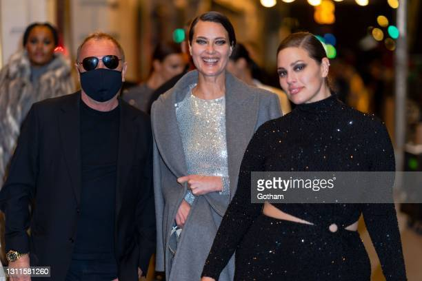 Michael Kors, Shalom Harlow and Ashley Graham attend the Michael Kors Fashion Show at the Booth Theater in Midtown on April 08, 2021 in New York City.