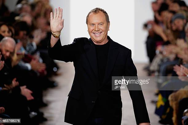 Michael Kors walks the runway at the Michael Kors fashion show during Mercedes-Benz Fashion Week Fall at Spring Studios on February 18, 2015 in New...