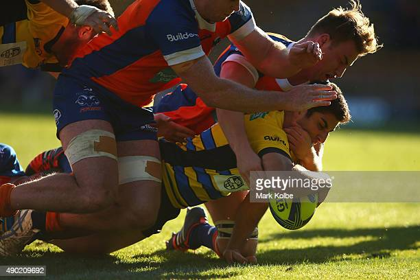 Michael Kovacic of the Stars scores a try during the round six NRC match between the Sydney Stars and the Greater Sydney Rams at Leichhardt Oval on...