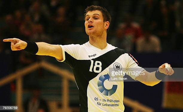 Michael Kraus of Germany gives instructions during the Men's Handball European Championship main round Group II match between Germany and France at...