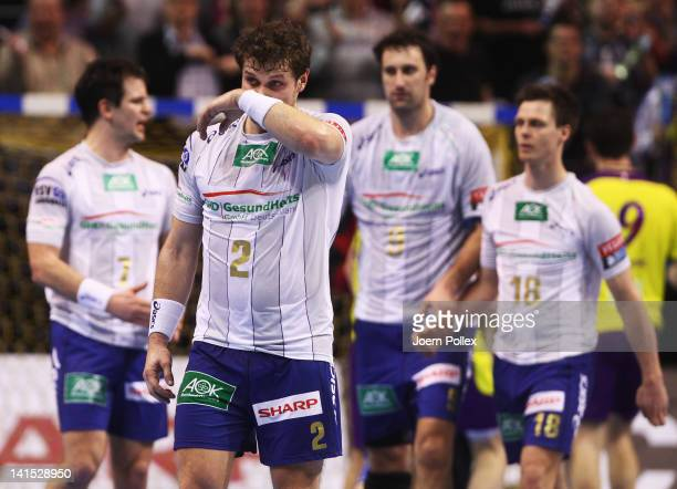 Michael Kraus of Hamburg gestures after loosing the EHF Champions League round of sixteen first leg match between Fuechse Berlin and HSV Hamburg at...