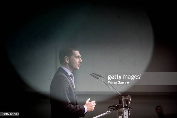 Michael Kretschmer designated prime minister of the German State of Saxony speaks during the state party conference of the Christian Democratic Union...
