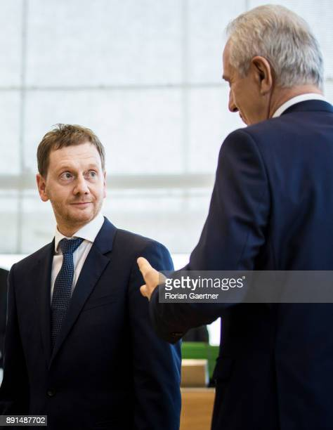 Michael Kretschmer prime minister of the German State of Saxony and Stanislaw Tillich CDU former prime minister of the German state of Saxony are...