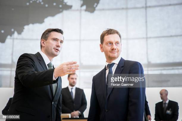 Michael Kretschmer prime minister of the German State of Saxony and Martin Dulig deputy prime minister of Saxony are pictured after Kretschmers...