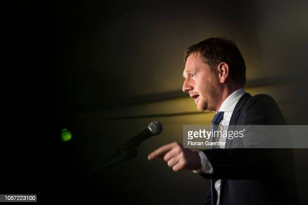 Michael Kretschmer prime minister of the German State of Saxony speaks at the opening of the Ostritz peace festival on November 02 2018 in Ostritz...
