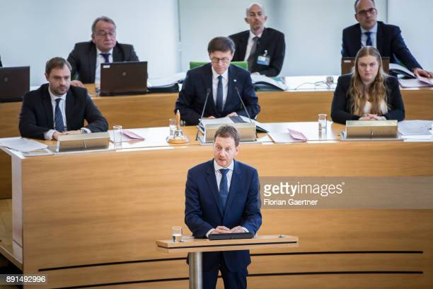 Michael Kretschmer prime minister of the German State of Saxony speaks for the first time as prime minister at the Landtag of Saxony after his...