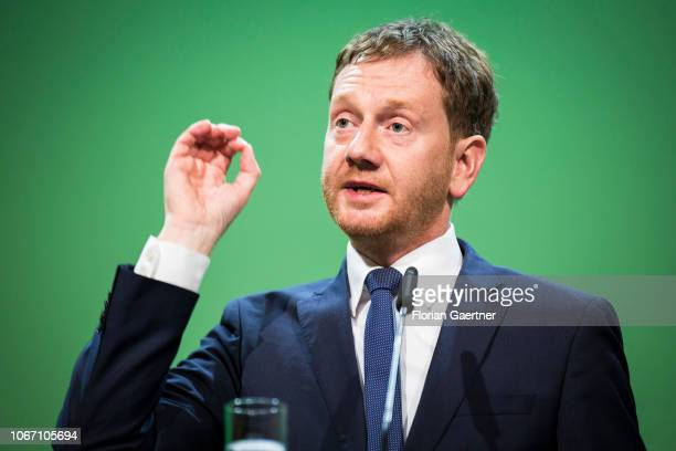 Michael Kretschmer prime minister of the German State of Saxony speaks during the CDU state party conference on December 01 2018 in Leipzig Germany