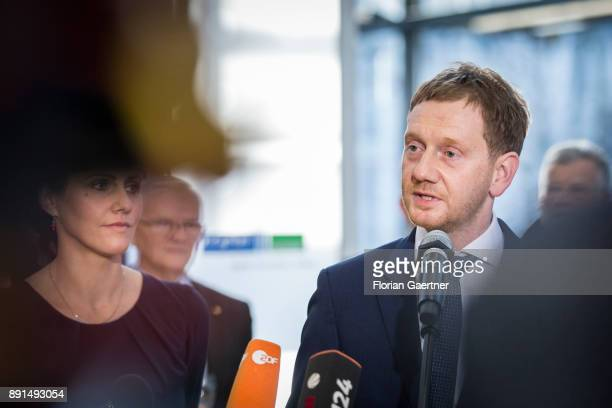 Michael Kretschmer prime minister of the German State of Saxony speaks to the media on December 13 2017 in Dresden Germany Kretschmers predecessor...
