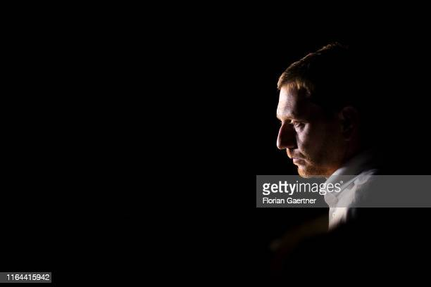 Michael Kretschmer top candidate of the CDU for the state election in Saxony speaks to the media during a campaign event on August 27 2019 in...