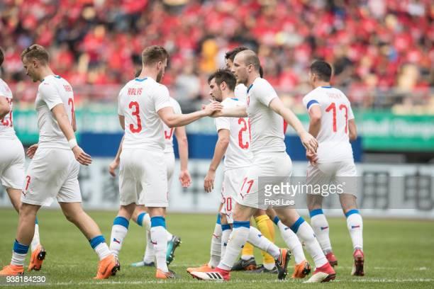 Michael Krmencik of Czech Republic scores his team's goal during 2018 China Cup International Football Championship between China and Czech Republic...