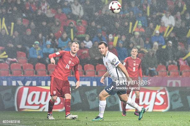 Michael Krmenik of Czech Republic in action against Even HOVLAND of Norway during the 2018 FIFA World Cup Qualifiers Group C match between Czech...