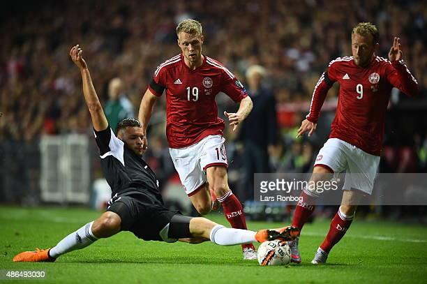 Michael KrohnDehli and Nicolai Jorgensen of Denmark in action during the UEFA EURO 2016 Qualifier match between Denmark and Albania at Telia Parken...