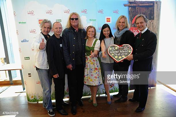 Michael Kunzi, Alexander Gruenwald, Aron Strobel of Muenchener Freiheit, Claudia Wiesner, Tim Wilhelm and Christian Feldhofer attend the Vienna Wiesn...