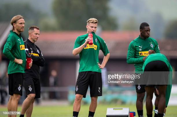 Michael Lang and Nico Elvedi during a Training Session at Borussia Moenchengladbach Training Camp at Stadion am Birkenmoos on July 23 2018 in...