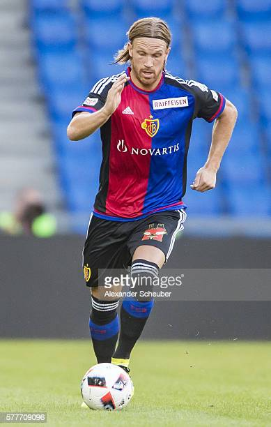 Michael Lang of FC Basel during the friendly match between FC Basel and VfL Wolfsburg at St JakobPark on July 19 2016 in Basel Switzerland