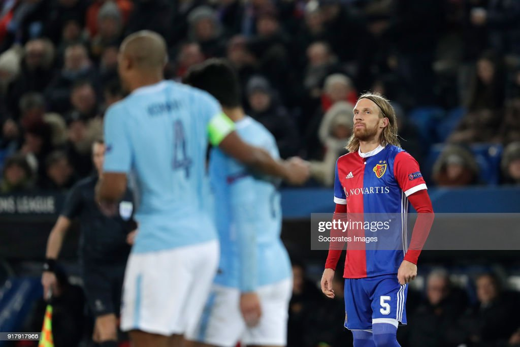 Michael Lang of FC Basel during the UEFA Champions League match between Fc Basel v Manchester City at the St. Jakob-Park on February 13, 2018 in Basel Switzerland