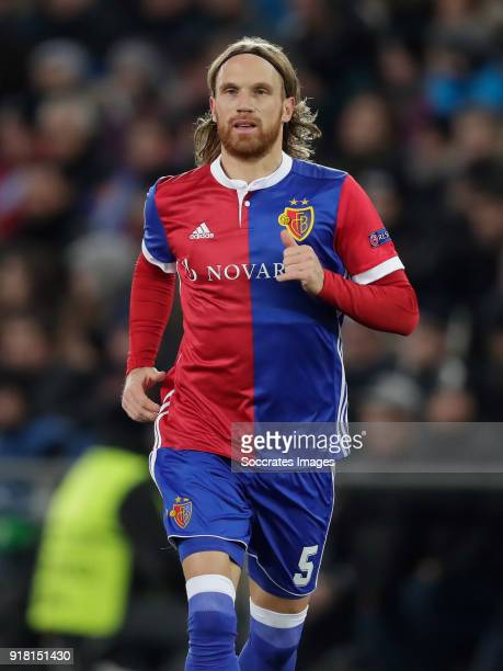 Michael Lang of FC Basel during the UEFA Champions League match between Fc Basel v Manchester City at the St JakobPark on February 13 2018 in Basel...