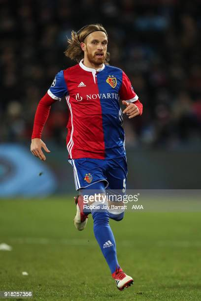 Michael Lang of FC Basel during the UEFA Champions League Round of 16 First Leg match between FC Basel and Manchester City at St JakobPark on...