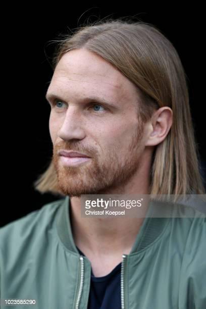 Michael Lang of Moenchengladbach is seen prior to the Bundesliga match between Borussia Moenchengladbach and Bayer 04 Leverkusen at Borussia-Park on...