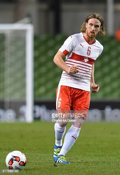 Michael Lang of Switzerland during the international friendly match between the Republic of Ireland and Switzerland at Aviva Stadium on March 25 2016...
