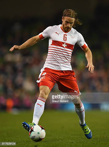 Michael Lang of Switzerland in action during the International Friendly match between Republic of Ireland and Switzerland at Aviva Stadium on March...