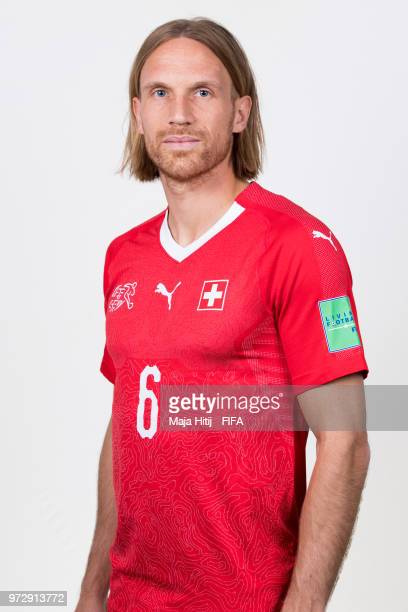 Michael Lang of Switzerland poses for a portrait during the official FIFA World Cup 2018 portrait session at the Lada Resort on June 12 2018 in...