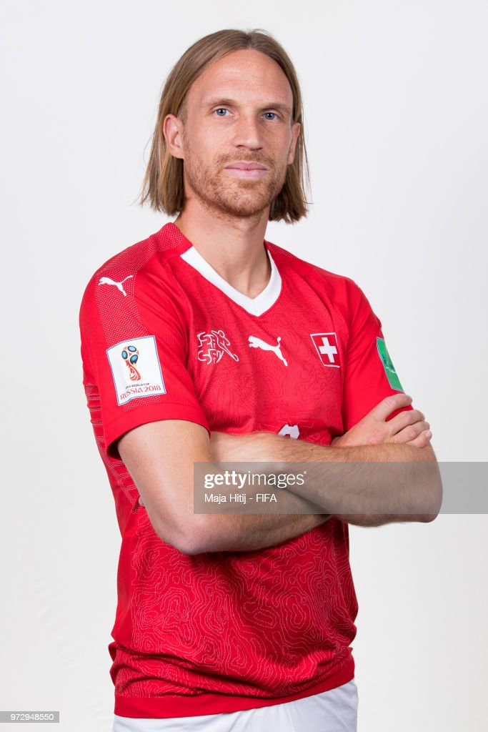 Michael Lang of Switzerland poses for a portrait during the official FIFA World Cup 2018 portrait session at the Lada Resort on June 12, 2018 in Samara, Russia.