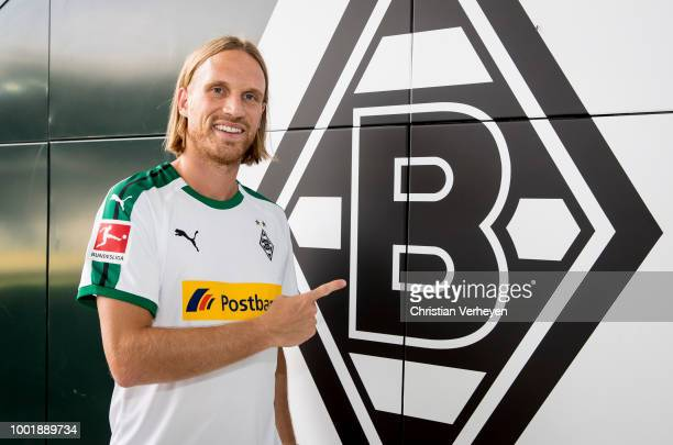 Michael Lang talks to the Club TV of Borussia Moenchengladbach at BorussiaPark on July 19 2018 in Moenchengladbach Germany