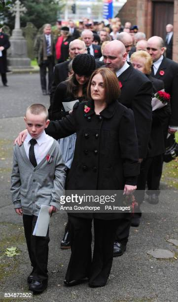 Michael Lappin and Toni Lappin brother and mother of murdered Joseph Lappin lead mourners from church followed by sister Bethany Lappin and father...