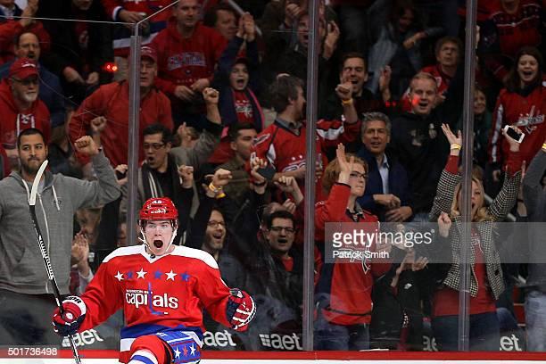Michael Latta of the Washington Capitals celebrates a first period goal against the Ottawa Senators at Verizon Center on December 16 2015 in...
